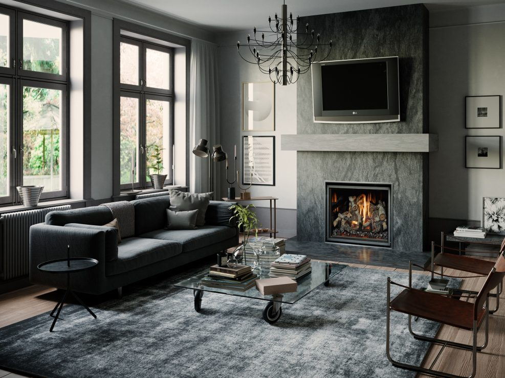 3dsMax with Vray Render Engine.  I did the composition, fireplace, mantle and hearth pad build, lighting and render.