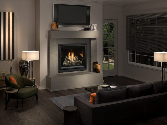 """3dsMax with Vray Render Engine.  I did the composition, materials, lighting and render.  This is the """"AFTER"""" image showing the new construction with fireplace."""